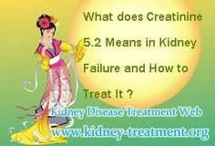 What does creatinine 5.2 means in kidney failure and how to treat it ? I have got chronic kidney disease for several years and my creatinine controlled in a lower level in the past due to the healthy diet, but the latest test shows that it has increases to 5.2 now.