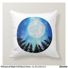 Shop Whimsical Night Full Moon Forest Sky Stars Blue Throw Pillow created by KivahKailani.