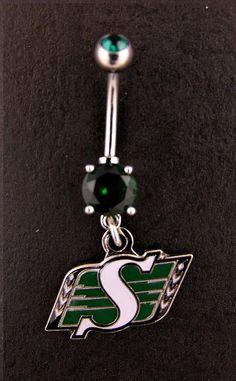 Saskatchewan Roughriders Navel Ring, I love mine Go Rider, Saskatchewan Roughriders, Saskatchewan Canada, Rough Riders, Peircings, Navel, Green Colors, Belly Button Rings, Die Hard