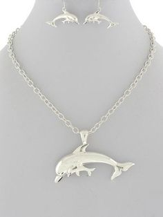 "Chunky Rhodium Silver 3"" Sea Life Dolphin Ocean Pendant 18"" Chain Necklace Set only 22.99$ 1 LEFT IN STOCK!!"