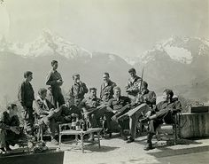 """ Members of the second battalion staff in Berchtesgaden. Lewis Nixon, Dick Winters and Harry Welsh are on the front row towards the right. """