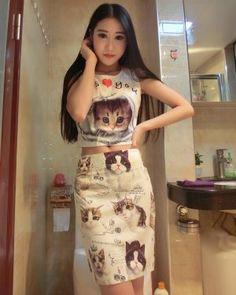DR001380 High waist sleeveless printing tops short kitty skirt