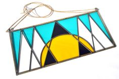 Beautiful geometric stained glass panel, handmade in Los Angeles by artist, David Scheid. Stained Glass Art, Mosaic Glass, Simple Geometric Designs, Triangle Art, Ceramic Pots, Glass Ceiling, General Store, Interior Accessories, Glass Panels