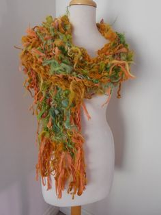 SALE Handspun Handknit Hand dyed tattered Alpaca scarf greens orange