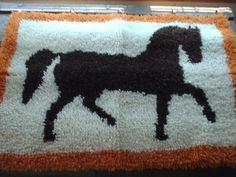 large chocolate brown horse rug hook completed by OldComfortShop, $19.99