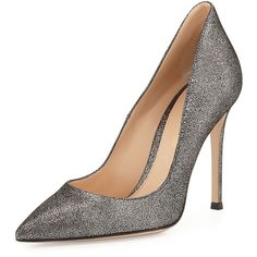 Gianvito Rossi Crackled Metallic Point-Toe Pump (125.880 HUF) ❤ liked on Polyvore featuring shoes, pumps, heels, silver, leather shoes, low heel shoes, leather pointed toe pumps, low pumps and pointed toe high heel pumps