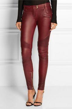 Balmain | Moto-style leather skinny pants | NET-A-PORTER.COM