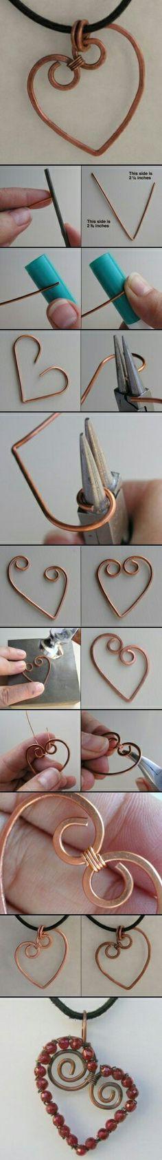 How to make a heart pendant with wire ** DIY Tutorial ** Como hacer un dije de corazon con alambre Copper Jewelry, Wire Jewelry, Beaded Jewelry, Jewelry Necklaces, Handmade Jewelry, Diy Jewellery, Jewlery, Jewellery Making, Tanishq Jewellery