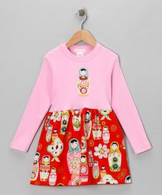 Take a look at this Pink Matryoshka Long-Sleeve Dress - Infant, Toddler & Girls by Alejandra Kearl Designs on #zulily today!