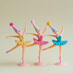 Ballerina Cake Topper / Ballerina Cupcake Toppers / Birthday Ballerinas / Vintage-Inspired Ballerinas by MovitaBeaucoup on Etsy https://www.etsy.com/listing/490791713/ballerina-cake-topper-ballerina-cupcake