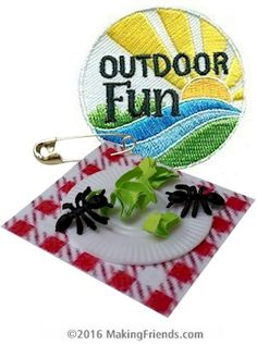 Ants on a Picnic SWAP Kit with one Free Patch. Going on a picnic, camping or eating outdoors with your Girl Scout troop? You know the ants will be there to clean up the scraps! Kit makes 24 SWAPs with one Free Patch. Available at MakingFriends.com