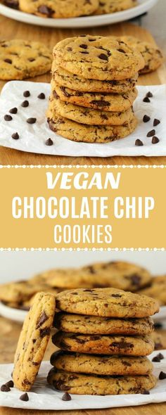 Vegan chocolate chip cookies that are soft, chewy, slightly-crunchy, sweet and satisfying. Also - super easy to make! Perfect as a snack or dessert. | lovingitvegan.com