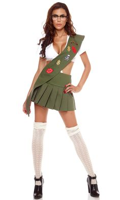 http://www.forplaycatalog.com/p/2015-Sexy-Costumes/Got-Cookies-Girl-Scout-Costume/140311.html Girl scout costume includes tie-front crop top with pleated skirt, glasses, and sash with ornamental patches. 556413_green_alt3_lg.jpg (1500×2500)