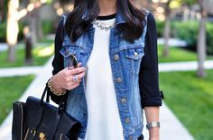 baseball tee and jean vest