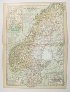 1899 Vintage Norway Map, Sweden Antique Map Scandinavia, Northern Europe, Antique Sweden Map Scandinavia Art, Office Decor Gift for Coworker available from www.OldMapsandPrints.Etsy.com #Sweden #Norway #Scandinavia #AntiqueMapofSwedenAndNorway #1899CenturyMap