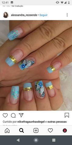 Aycrlic Nails, Chic Nails, Cute Acrylic Nails, Gel Nail Art, Elegant Nails, Diy Manicure, Nail Colors, Nail Art Designs, Make Up