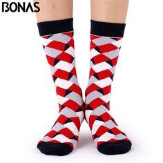 Bonas Geometry 3D Print Socks Women Wedding Gift Casual Cotton Hosiery Meia Colorful Men's Business Sox Hot Sale Christmas Socks #Affiliate