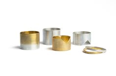 Minimal handcrafted jewelry, gold plated silver rings, ombré tube ring, simple modern jewellery Minimal Jewelry, Gold Plated Rings, Nespresso, Napkin Rings, Plating, Candle Holders, Candles, Simple, Future