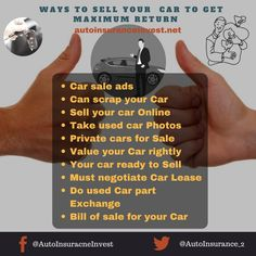 10 Ways to Sell your Car to get maximum Return Low Car Insurance, Car Buying Tips, Car Quotes, Car Deals, Auto News, Earn More Money, Car Parts, Used Cars, Cars For Sale