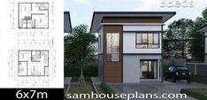 House Plans Idea with 3 Bedrooms - Sam House Plans Two Storey House Plans, 2 Storey House Design, Bungalow House Design, Duplex House, Small Cottage Plans, Small Cottage Homes, Simple House Plans, Simple House Design, Contemporary House Plans