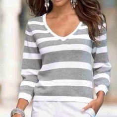 "Spotted while shopping on Poshmark: ""🎉HP🎉New stripe v neck sweater""! #poshmark #fashion #shopping #style #Boston Proper #Sweaters"