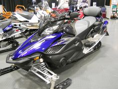 These snowmobiles have style and beauty all rolled up into one nice combination of colors. These sleds give you class all the way with all the new unique fea. Snow Toys, Snow Machine, Atv Four Wheelers, Electric Power, Yamaha, Snowmobiles, Boat, Vehicles, Zoom Zoom
