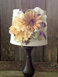 handmade / table lamp / decorated lamp / floral / cottage chic / shabby chic / brown base / ivory / burlap /purple / sage green