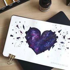 first painting of my sketchbook, heart ( White Ink, My Drawings, Watercolor Paintings, Heart, Inspiration, Biblical Inspiration, Water Colors, White Tattoos, Watercolour Paintings