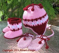 Cherries Baby Mittens, Booties and Hat