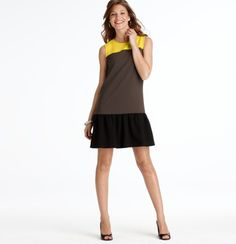 Colorblocked Yoke Flounce Dress: surprisingly flattering. The yellow is actually more neon than pictured.