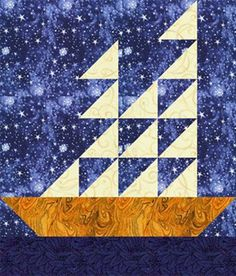 """Tall Ships Quilt Block Pattern - 12"""" x 14"""" boat against a starry sky."""