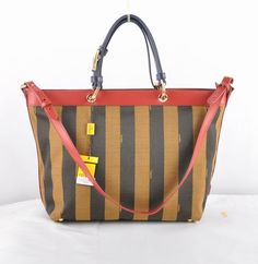 Fendi Coffee Stripe Waterproof Fabric With Red/Blue Calf Leather Tote Bag                      $169.00