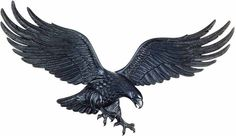 Bald Eagle wings spread reaching tallons in black