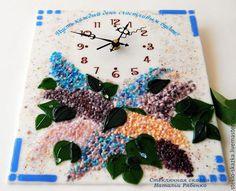 """Часы для дома ручной работы. Ярмарка Мастеров - ручная работа. Купить Часы настенные фьюзинг  """"Аромат сирени"""". Handmade. Сиреневый"""