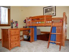 loft bed l70 with cedar stain lacquer clearcoat