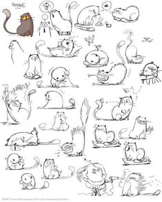 64 Trendy Drawing Animals Tips Character Design References Cartoon Drawings, Animal Drawings, Drawing Sketches, Cat Sketch, Funny Sketches, Cartoon Cats, House Sketch, Girl Cartoon, Drawing Art
