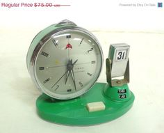 vintage alarm clock with date aqua blue color by DACAIS on Etsy, $60.00