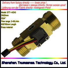 "Full Copper G3/4"" DN20mm 2-45L/min Circulation System Water Flow Sensor Flowmeter 35*60mm Length"