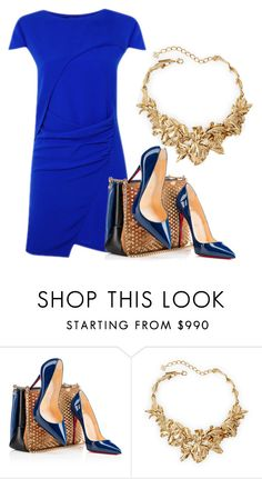 """""""Blue By You """" by meladesigns on Polyvore featuring Christian Louboutin, Oscar de la Renta, women's clothing, women, female, woman, misses and juniors"""
