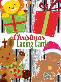 I love these adorable Christmas lacing cards. Create your own lacing cards with these printable Christmas lacing cards to add a fun Christmas theme for fine motor practice. #Christmas #Finemotor #kids