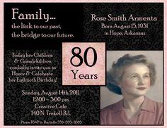 80th Birthday Digital Invitation by Stonelovedesigns on Etsy, $15.00