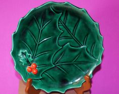 Vintage Lefton, Holly Berry Plate, Lefton Plate
