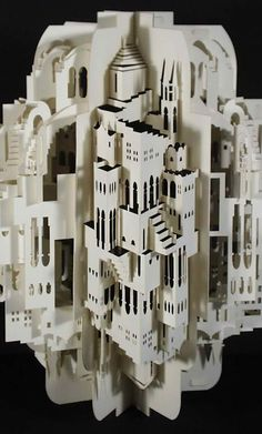 Paper Architecture: 3D Sculptures by Ingrid Siliakus. Collection of 7 photos. Very detailed artwork.