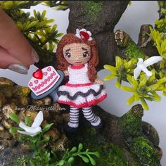 3 8cm Hearts Red Velvet Cake Valentines Day Doll.  by MissyVille