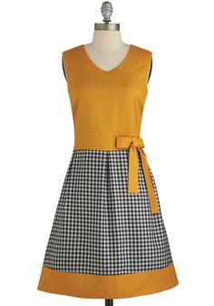 Home Sweet Homey Dress - Yellow, Black, White, Checkered / Gingham, Bows, Casual, Vintage Inspired, A-line, Twofer, Sleeveless, Better, Inte...