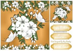Pretty gold and white flowers with butterflies 8x8 on Craftsuprint - View Now!