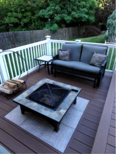 Deck with fire pit (stones in deck)