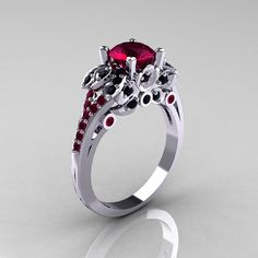 Classic 14K White Gold 10 CT Red Garnet Black by artmasters, $1299.00