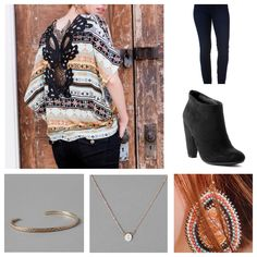 Vallejo Printed Top, Harper Ultra Skinny Jean in Blue Black Indigo, Performa Ankle Bootie, London Threaded Bangle in Pink, Burgoyne Beaded Teardrop Earrings, and an Initial Necklace