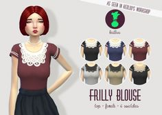 FRILLY BLOUSE at Kedluu via Sims 4 Updates